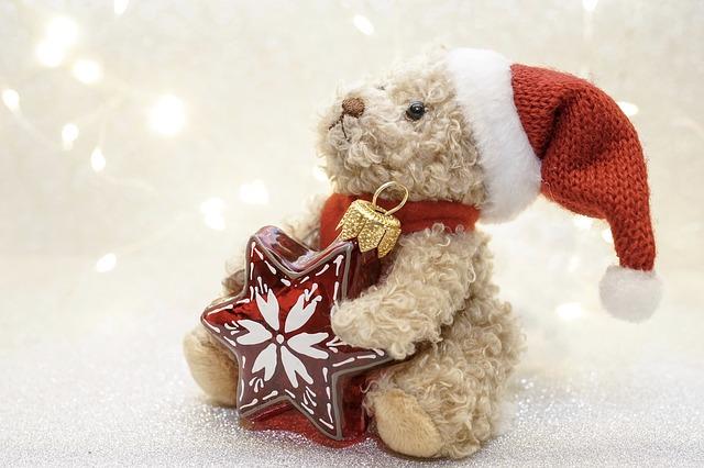 Bär mit Weihnachtsmütze